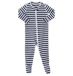 the stripe zip footie - Only from Primary - Solid color kids clothes - No logos, slogans, or sequins - All under $25