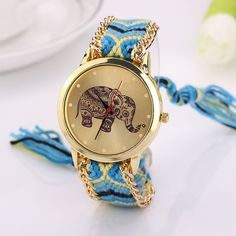Fashion Casual DIY Elephant Pattern Women Dress Watches National Weave Gold Bracelet Quartz Clock