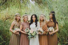 pretty boho chic bridesmaids