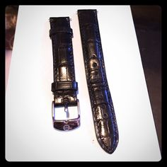 Black alligator Michele watch band 16 mm black alligator Michele watch band Michele Jewelry Bracelets