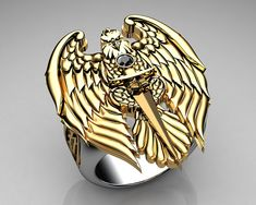 Cool Rings For Men, Unique Mens Rings, Unusual Rings, Mens Silver Rings, Sterling Silver Rings, Men's Jewelry Rings, Jewellery, Eagle Ring, Dragon Jewelry