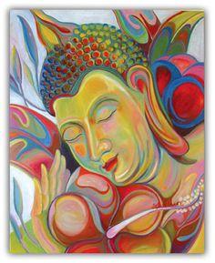Buddha Paintings and buddhist art - original paintings and limited edition prints Gautama Buddha, Buddha Buddhism, Buddha Art, Traditional Stories, Buddha Painting, Peace Art, Zen Meditation, Stars And Moon, Sun Moon