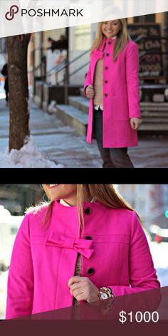 ISO- J Crew pink bow wool coat, size 8. In search of this coat in size 8!! J. Crew Jackets & Coats Trench Coats
