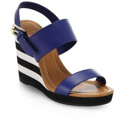 Kate Spade New York Bina Striped-Wedge Leather Sandals found on Polyvore