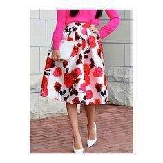 Rotita Flower Print White High Waist Skirt (455 CZK) ❤ liked on Polyvore featuring skirts, white, knee length a line skirt, white midi skirt, mid-calf skirt, a line midi skirt and white floral skirt