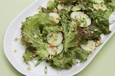 The dressing is the star here! Lime, ginger and coconut milk make for a light dressing that's brimming with tropical flavors. A cooling summer salad!