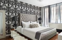 Beautiful Bed Design and Decor Ideas to Enrich Modern Bedroom Interiors Target Bedroom Furniture, Damask Bedroom, Damask Wallpaper Bedroom, Modern Bedroom Interior, Interior Design Bedroom, Simple Bedroom, Elegant Bedroom, Home Decor, Beautiful Bed Designs