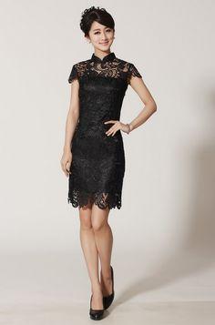 Traditional Chinese Dress - Elegant Evening Qipao Dress: Black Elegant Lace Qipao $102.99 (77,59 €)