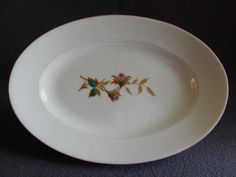 "1870's Charles Haviland & Co. Limoges ""Moss Rose"" Pattern Small Oval Platter"