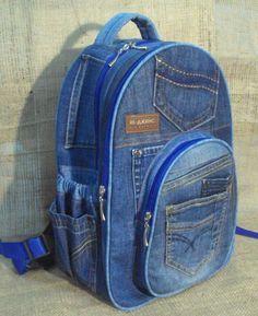 Unique Patchwork Upcycled Eco Jeans Denim Backpack Sailor Bag with Pockets Denim Backpack, Denim Bag, Backpack Bags, Next Purses, Purses And Bags, Mochila Jeans, Jeans Refashion, Denim Handbags, Unique Handbags
