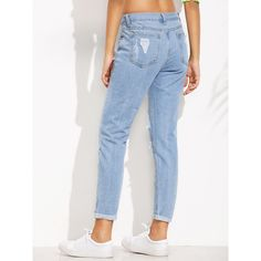 Blue Distressed Roll Hem Jeans ($20) ❤ liked on Polyvore featuring jeans, blue jeans, rolled jeans, blue ripped jeans, destruction jeans and destroyed jeans