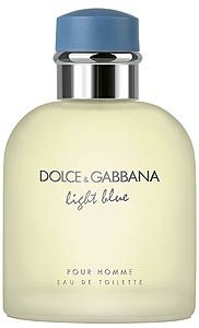 Light Blue pour Homme (Dolce&Gabbana)Citrus Aromatic fragrance for men.  Top notes are sicilian mandarin, juniper, grapefruit and bergamot; middle notes are rosemary, brazilian rosewood and pepper; base notes are musk, oakmoss and incense -2007