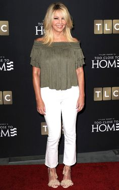 Heather Locklear off the shoulder top white jeans