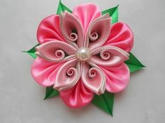 Ribbon Flower. THIS FLOWER IS NOT IN THE CLIP.. The Clip is in Russian but easy to watch and learn.