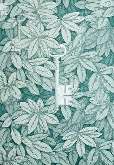 Fornasetti Chiavi Segrete Wallpaper by Cole & Son Dense leaf print in aqua with hanging metallic silver keys~