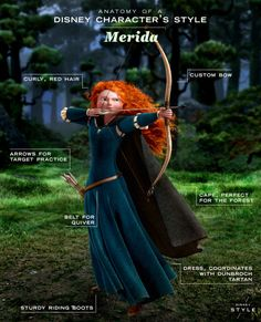 Anatomy of a Disney Character's Style: Merida - Disney Style breakdown! We're taking a look at the Merida's signature style. Disney Facts, Disney Memes, Disney Girls, Disney Style, Disney Love, Disney Magic, Brave Disney, Disney Cosplay, Merida Cosplay