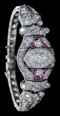 Art Deco Diamond & Ruby Bracelet