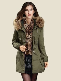 Women's Parka Coat Hunter Green Faux Fur Hooded Long Sleeve Drawstring Slim Fit Winter Coat