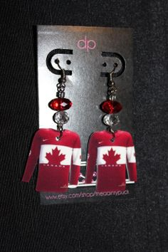 Team Canada Sochi 2014 Hockey #Earrings ©thedaintypuck! Ladies, let's rock these together, deal? #SOCHI2014 #Canada