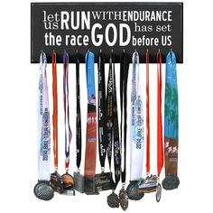 Let Us Run With Endurance The Race God Has Set Before Us - Running Medal Display Black 12 Hooks