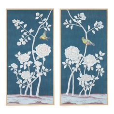 """Brympton"" Chinoiserie Hand-Painted Silk Diptych From Jardins en Fleur by Simon Paul Scott - Set of 2 For Sale Chinoiserie, Tea Wallpaper, Wood Molding, Moulding, Silk Painting, Blue Painting, Triptych, Hand Painted, Painted Silk"