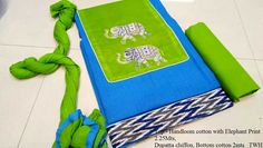 Top 2.25 Mts Handloom cotton with Elephant print, Dupatta Chiffon and Bottom 2M cotton