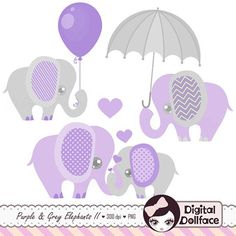 Purple and Grey, Baby Shower, Elephants Clipart, Digital Lavender ...