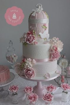 Pretty pinks ~  vintage birdcage cake, I loved working on this cake. 2 deep tiers wrapped in edible lace with handmade sugar flowers and adorne...