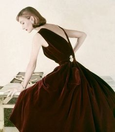 Evelyn Tripp in a velvet gown forVogue, 1955.