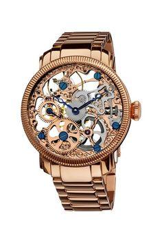 Akribos Men's Stainless Mechanical Skeleton Bracelet Watch