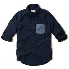 Hollister Mens Button Down Shirt Navy Pocket