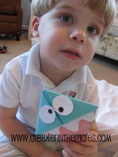 ctbaker in the acres: 14 Lovely Days: Day 2 Toddler Crafts, Preschool Crafts, Toddler Activities, Crafts For Kids, Arts And Crafts, Origami Monster Bookmark, Monster Book Of Monsters, Book Corners, Page Marker
