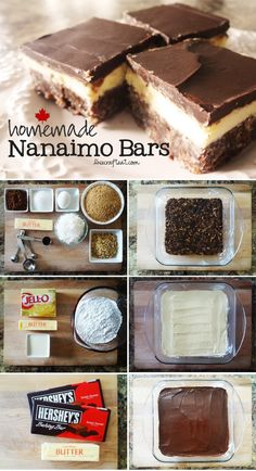 Nanaimo bar recipe (In Margaret Atwood's novel, The Robber Bride, a character eats a Nanaimo bar while dwelling on the past. It was the first I had heard of them -- I had to look it up.) Homemade nanaimo bars - a Canadian classic. Just Desserts, Delicious Desserts, Dessert Recipes, Yummy Food, Cake Recipes, Nanaimo Bars, Canadian Food, Canadian Recipes, Canadian Candy