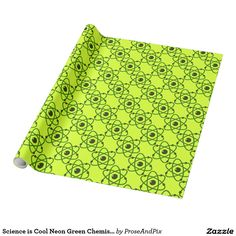 Science is Cool Neon Green Chemistry Atoms Design Wrapping Paper #zazzle #giftwrap #holidays #giftshop #nerdstyle