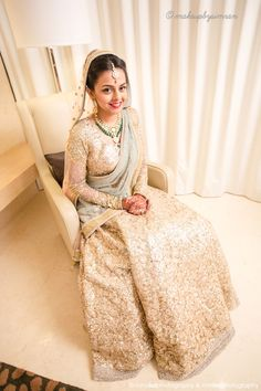 Indian Bride Donning a Golden Sabyasachi Lengha | Rahul Lal Photography