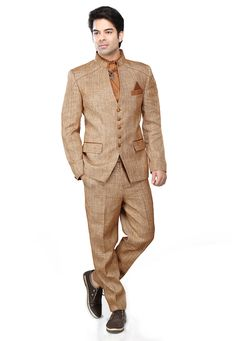 Buy Light Brown and Beige Linen Jodhpuri Suit online, work: Plain, color: Beige / Light Brown, usage: Party, category: Mens Wear, fabric: Linen, price: $225.56, item code: MCD1796, gender: women, brand: Utsav