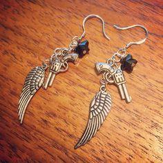 A personal favorite from my Etsy shop https://www.etsy.com/listing/236904432/guns-n-wings-earrings PrettiiJewels.etsy.com #earrings #jewelry #jewellery #handmade #ears #earcuff #love #fashion #shopping #stockingstuffers #etsy #cartilage #pretty #beautiful #girly #accessories #silver #chain #piercings #piercing #handmadejewelry