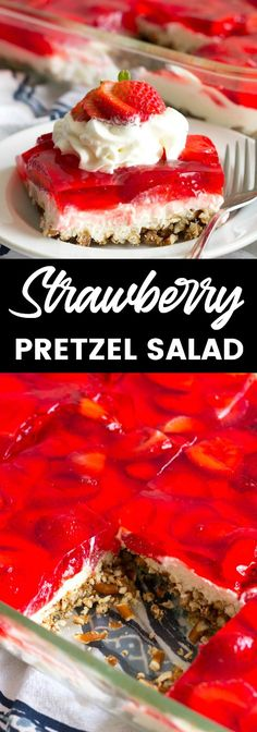 Strawberry Pretzel Salad is an easy #dessert that's a party favorite! Layers of crunchy pretzels, luscious cream cheese mousse, and strawberries with jello are the best summer treat! #BreadBoozeBacon #strawberry #pretzel #jello #jellosalad #potluck via @breadboozebacon