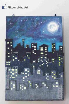 Denim art from 20 Amazing DIY Denim Ideas Middle School Art Projects, Projects For Kids, Art School, Diy Projects, High School, Cool Art Projects, Garden Projects, Denim Kunst, Arte Elemental