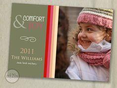 Printable Christmas Card-Custom Family Photo Comfort and Joy. $15.00, via Etsy.