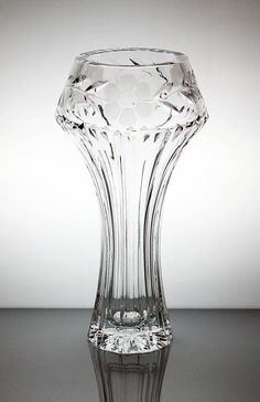 "AIMO OKKOLIN - Crystal glass vase ""Pirkko"" 6022 designed in 1972 for Riihimäen Lasi Oy, in production Finland."