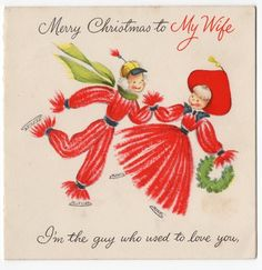 I used to make yarn dolls! Vintage  Christmas Card Yarn People Skating