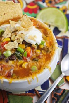 TacoSoup .... Best recipe I have seen with chicken, an lots of fresh veggies & herbs ! Yummy for your tummy !