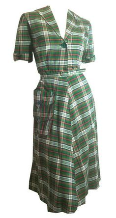 Smart Green and Red Plaid Cotton Day Dress circa 1940s - Dorothea's Closet Vintage