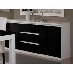 Buffet/bahut ROMEO 3 portes et 3 tiroirs noir laque/blanc laque 1 ...
