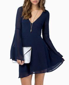 Bell Sleeve V Neck Chiffon Mini Dress