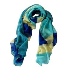 Color block scarf in blue