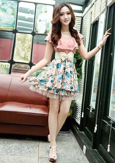 why so skinny?! #envy! Ladylike Floral Print Flouncing Chiffon Dress With Bow Belt For Women