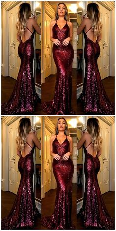 Sexy Backless Dark Red Sequin Mermaid Evening Prom