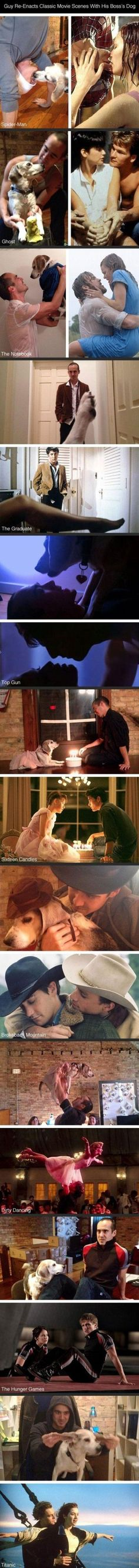 Classic Movie reenactments with boss's dog,